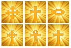 Seite von religiösen Symbolen über Sonnendurchbruch Lizenzfreies Stockbild