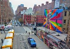 Seiten- 10. Allee Manhattans New York nach Westen Lizenzfreie Stockfotos