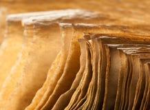 Seiten des geöffneten alten Buches stockfoto