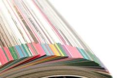 Seiten des Kataloges Stockfotos