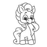 Seiten-Farbtonkarikatur des Ponys kleine Stockbilder