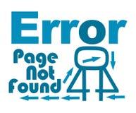 Seiten-nicht gefundener blauer Text mit Pfeilen Stockbild