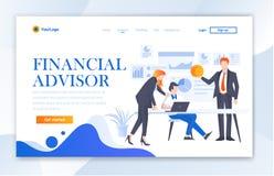 SEITEN-Schablonen-moderne flache Illustrations-Vektor Ui-Schablone Finanzberater-Agency Websites Landungs stock abbildung