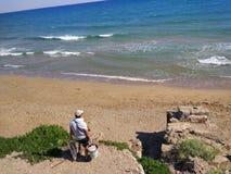 Seiten-Strang des Angler-im Antalya Manavgat Stockfotos