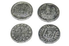 2 Seiten von 2 alten Münzen Lizenzfreies Stockbild