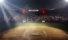 Seitenansicht der Arena des professionellen Baseballs in den Lichtern Stockbilder