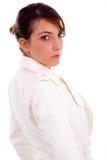 Seitenansicht der modernen Frau Kamera betrachtend Lizenzfreies Stockfoto