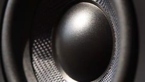 Seitenansicht des Audiosprechers zwei, der vom Ton vibriert stock video footage