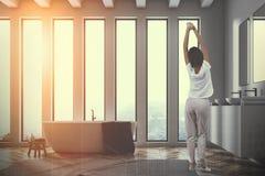 Seitenansicht des Badezimmers der doppelten Wanne mit der Wanne getont Stockbilder