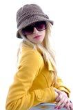 Seitenansicht des Baumusters mit Schutzkappe und Sonnenbrillen Lizenzfreie Stockfotografie