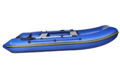 Seitenansicht des blauen aufblasbaren Gummibootes, lokalisiert auf Weiß. stockfotografie