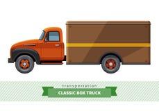 Seitenansicht des klassischen Kasten-LKWs Lizenzfreie Stockbilder
