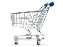 Seitenansicht des leeren Einkaufswagens Lizenzfreie Stockfotos