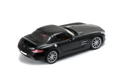 Seitenansicht des luxuriösen schwarzen Autos Stockbild
