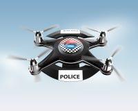 Seitenansicht des Polizeibrummens auf blauem Himmel stock abbildung