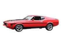 Seitenansicht des roten Sportwagens Stockfoto
