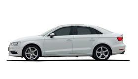 Seitenansicht des weißen Autos Stockfotos