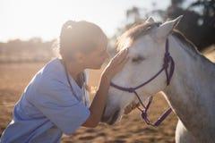 Seitenansicht des weiblichen Tierarztes Pferd streichend lizenzfreies stockbild