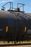 Seitenansicht einer Eisenbahn-Bassinwagen-Ventil-Haube und der Leiter Lizenzfreies Stockfoto