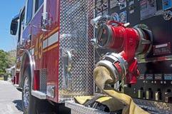 Seitenansicht eines Firetruck Stockfotos
