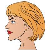 Seitenansicht-Kopfmuster der Karikaturfrau lizenzfreie abbildung