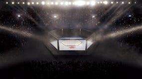 Seitenansicht leerer Muttahida Majlis-e-Amal Arena unter Lichtern schließen Sie Tribüne ab Wiedergabe 3d Stockfoto