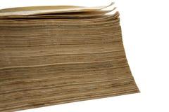 Seitenansicht von alten yelow Papieren des Buches Stockfotografie