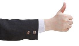 Seitenansicht von Daumen up Zeichen - Handzeichen Stockfotos