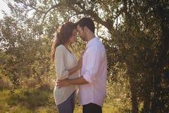 Seitenansicht von den jungen Paaren, die am olivgrünen Bauernhof stehen Stockbilder