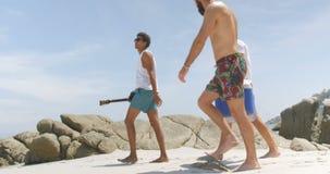 Seitenansicht von den männlichen Freunden der Mischrasse, die Eiskasten auf dem Strand 4k tragen stock video
