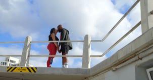 Seitenansicht von den Paaren, die an der Promenade nahe Geländer 4k küssen stock footage