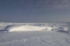 Seitenansicht von Sastrugi, Wind schnitzte Kanten im Schnee, nahe Arviat, Nunavut Lizenzfreie Stockfotografie