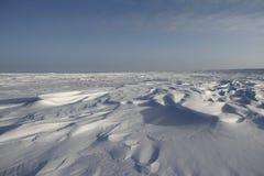Seitenansicht von Sastrugi, Wind schnitzte Kanten im Schnee, nahe Arviat, Nunavut Lizenzfreie Stockfotos