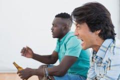 Seitenansicht von zwei aufgeregten Fußballfans Stockbilder