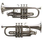 Seitenansicht zwei einer silbernen Trompete Lizenzfreies Stockfoto
