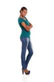 Seitenansichtafrikanerfrau Stockbild