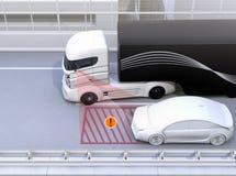 Seitenansichtvorlagensystem vermeiden Autounfall, wenn es Weg ändert lizenzfreie abbildung