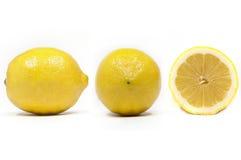 Seitenfront und Schnittansicht einer Zitrone Stockfotografie