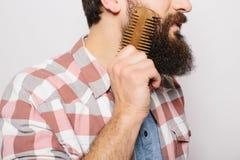Seitenporträt des hübschen kaukasischen Mannes mit lustigem Schnurrbartlächeln und kämmen großes seins Stockbild