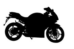 Seitenprofil des Motorrad-Schattenbildes Stockfotografie