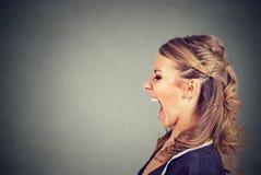 Seitenprofil einer verärgerten jungen schreienden Frau Lizenzfreies Stockfoto