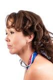 Seitenprofil hübscher Brunette lizenzfreie stockfotos