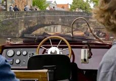 Seitenruder im touristischen Boot Stockfotografie