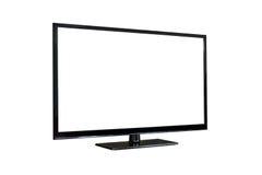 Seitenschuß von Plasmafernsehschirm lokalisiert auf Weiß Stockbilder