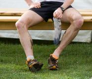 Seitentrieb, der nach Fußrennen stationiert Lizenzfreie Stockfotos