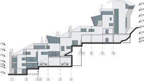 Seitliche Fassadegebäudezeichnung Stockbild