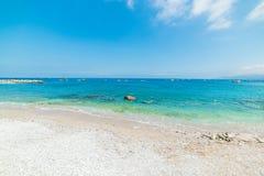 Seixos brancos na praia de Marina Grande Fotos de Stock