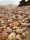Seixos cor-de-rosa na praia Foto de Stock