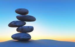 seixos 3D de equilíbrio na areia contra um céu do por do sol Imagem de Stock Royalty Free