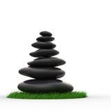 Seixos do zen em fileira equilibrada Foto de Stock